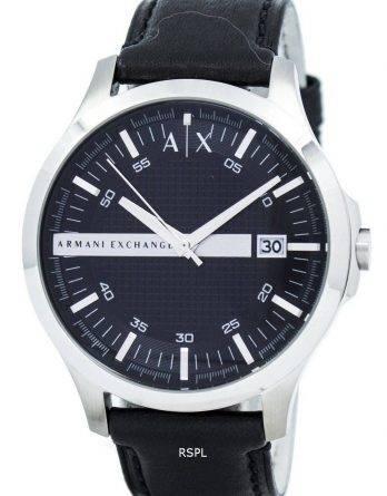 Armani Exchange sort urskive læder rem AX2101 Herreur