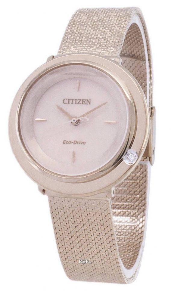 Citizen L Eco-Drive EM0643-84 X Analog diamant accenter kvinders ur