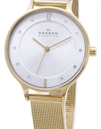 Skagen Anita guld Tone Mesh armbånd krystalliseret SKW2150 kvinders ur
